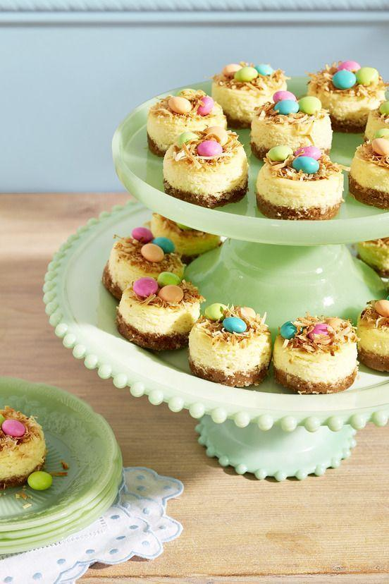 "<p>Cap off Mother's Day brunch with these petite cheesecakes decorated with coconut and chocolate-covered mints to look like birds' nests.</p><p><strong><a href=""https://www.countryliving.com/food-drinks/a35916662/mini-birds-nest-key-lime-cheesecakes-recipe/"" rel=""nofollow noopener"" target=""_blank"" data-ylk=""slk:Get the recipe"" class=""link rapid-noclick-resp"">Get the recipe</a>.</strong></p>"