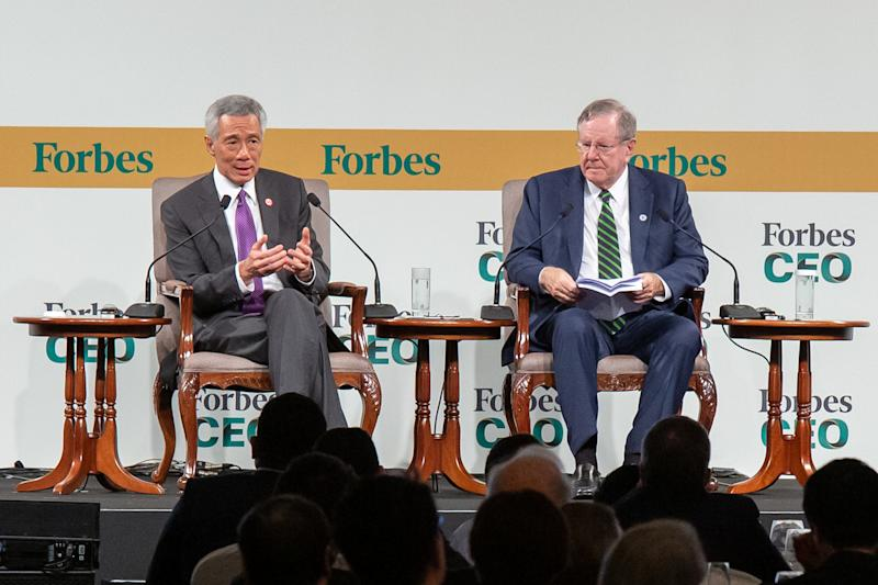 Singapore Prime Minister Lee Hsien Loong (left) in dialogue with Forbes editor-in-chief Steve Forbes at the Forbes Global CEO Conference in Singapore, on Wednesday, 16 October 2019. PHOTO: Dhany Osman/Yahoo News Singapore