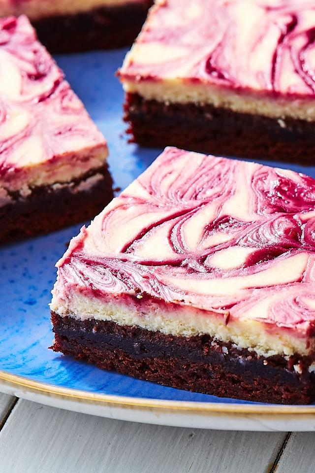 """<p>These bars are equal parts brownie and cheesecake and we are HERE. FOR. THEM. To make things super easy on yourself, start with a brownie mix. You need to make your own <a href=""""https://www.delish.com/uk/cooking/recipes/a32943811/blackberry-jam-recipe/"""" target=""""_blank"""">blackberry jam</a> though. It'll be much easier to work with than the jarred stuff to achieve those perfect swirls.</p><p>Get the <a href=""""https://www.delish.com/uk/cooking/recipes/a33592676/blackberry-cheesecake-brownies-recipe/"""" target=""""_blank"""">Blackberry Cheesecake Bars</a> recipe.</p>"""