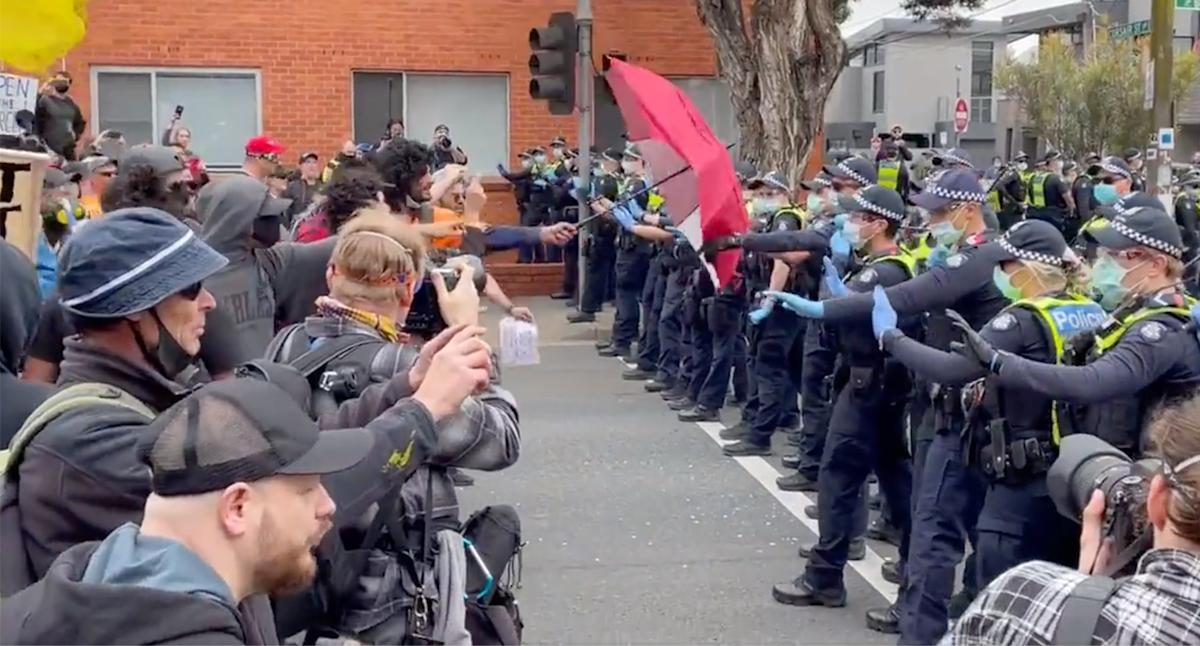 Violent clashes as lockdown protesters pushed into the suburbs