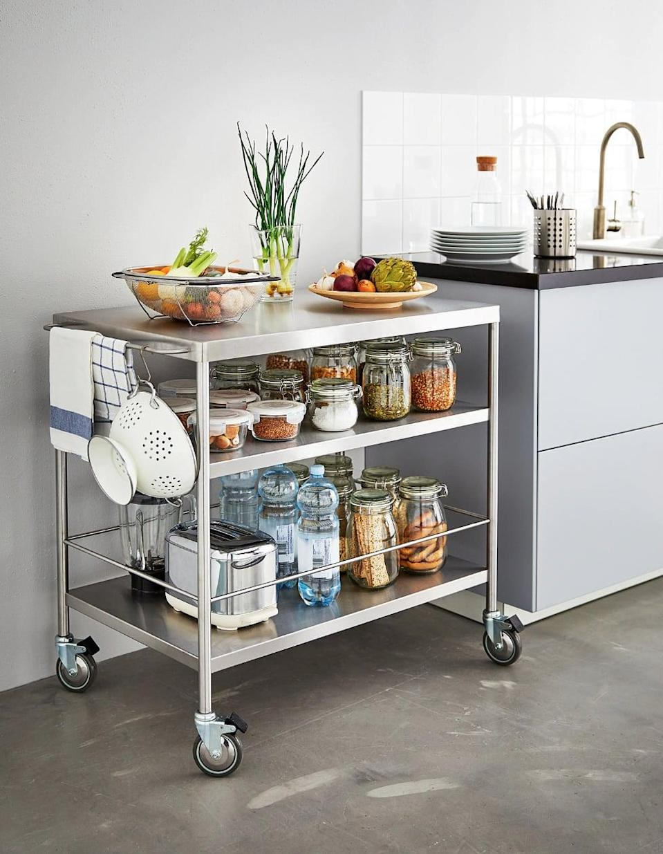 "<p>You will never have to worry about running out of storage when you have the <a href=""https://www.popsugar.com/buy/Flytta%20Kitchen%20Cart-446998?p_name=Flytta%20Kitchen%20Cart&retailer=ikea.com&price=179&evar1=casa%3Aus&evar9=46151613&evar98=https%3A%2F%2Fwww.popsugar.com%2Fhome%2Fphoto-gallery%2F46151613%2Fimage%2F46152187%2FFlytta-Kitchen-Cart&list1=shopping%2Cikea%2Corganization%2Ckitchens%2Chome%20shopping&prop13=api&pdata=1"" rel=""nofollow noopener"" target=""_blank"" data-ylk=""slk:Flytta Kitchen Cart"" class=""link rapid-noclick-resp"">Flytta Kitchen Cart</a> ($179). Use it as an island if you are low on space or store it in the pantry when it's not in use.</p>"