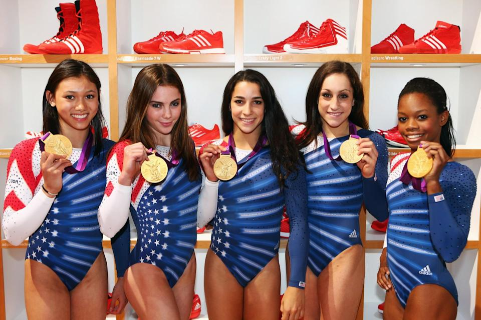 <p>Kyla Ross, McKayla Maroney, Aly Raisman, Jordyn Wieber and Gabrielle Douglas (L-R) of the United States women's Gymnastics team at the adidas Olympic Media Lounge at Westfield Stratford City on August 8, 2012 in London, England. (Photo by Alex Grimm/Getty Images for adidas) </p>
