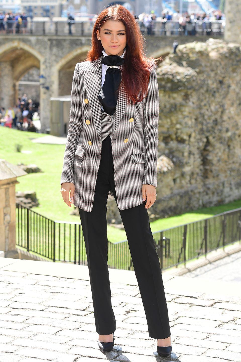 <p>Who: Zendaya </p><p>When: June 17, 2019</p><p>Wearing: Alexandre Vaulthier, Christian Louboutin heels</p><p>Why: Matching your waistcoat to your blazer is making a strong comeback, according to Zendaya at the <em>Spider-Man: Far From Home </em>photocall in London, England. Get ready for the return of '70s prep!</p>