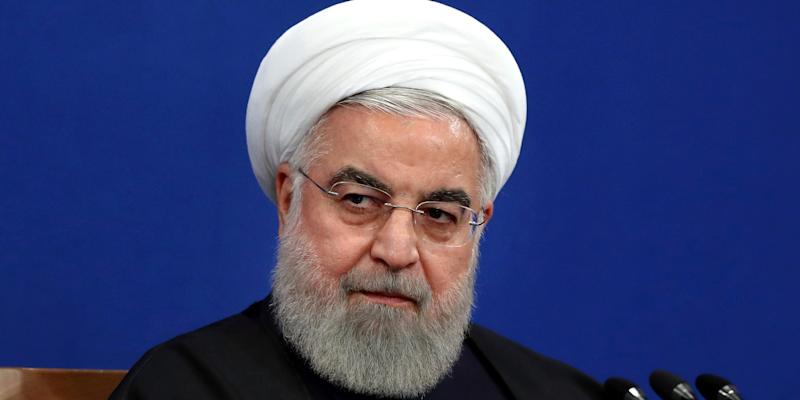 Iran's President Hassan Rouhani gives a press conference in Tehran, Iran, Sunday, Feb. 16, 2020. (AP Photo/Ebrahim Noroozi)