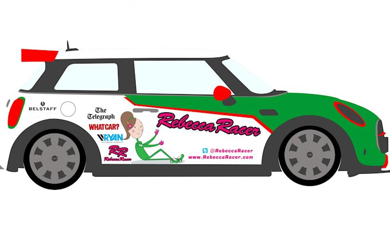 This is the livery that appears on Rebecca's Mini JCW racer in the 2017 Mini Challenge race series