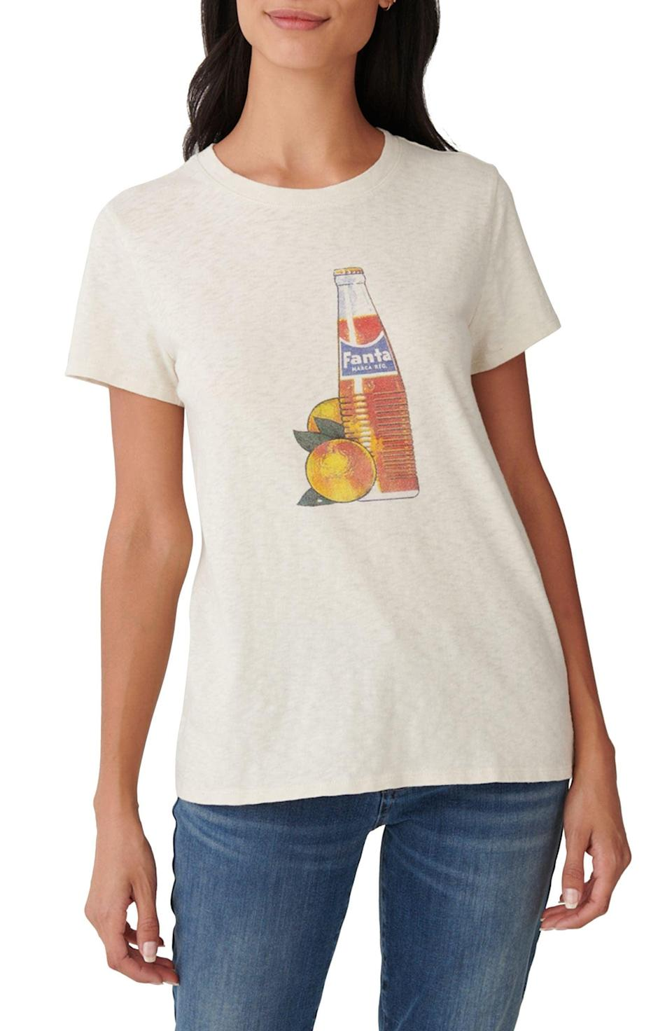 <p>This <span>Lucky Brand Fanta Bottle Cotton Graphic Tee</span> ($40) is a cool throwback.</p>