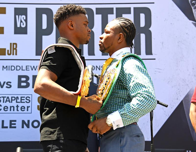 LOS ANGELES, CA - AUGUST 13: (L-R) Errol Spence Jr. and Shawn Porter face off during a press conference at STAPLES Center Star Plaza to preview their upcoming Welterweight World Championship fight on August 13, 2019 in Los Angeles, California. (Photo by Jayne Kamin-Oncea/Getty Images)