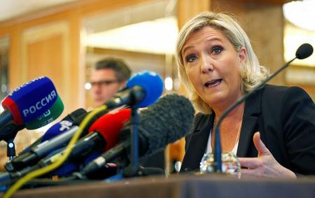 Leader of France's National Rally Party Marine Le Pen speaks during a news conference in Milan, Italy May 18, 2019. REUTERS/Alessandro Garofalo