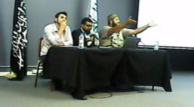 Hizb ut-Tahrir rally speakers (L-R) Wassim Dourehi, Hamzah Qureshi and Bilal Merhi