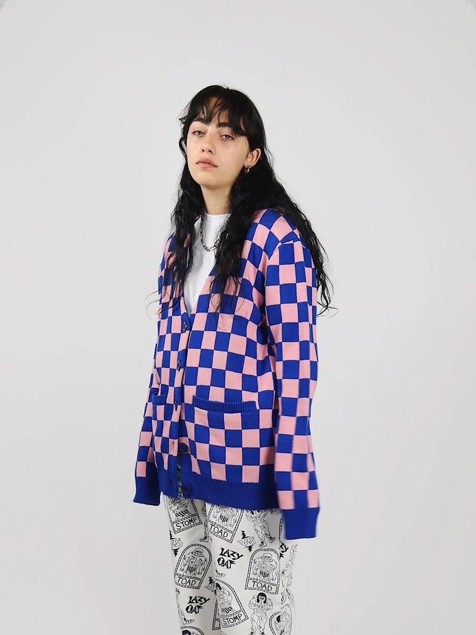 """<br><br><strong>Lazy Oaf</strong> Chequer Cardigan, $, available at <a href=""""https://www.lazyoaf.com/products/lazy-oaf-chequer-cardigan?"""" rel=""""nofollow noopener"""" target=""""_blank"""" data-ylk=""""slk:Lazy Oaf"""" class=""""link rapid-noclick-resp"""">Lazy Oaf</a>"""