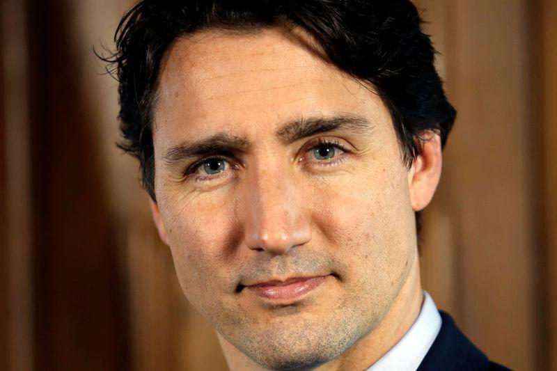 Canada's PM Trudeau poses following an interview in Ottawa