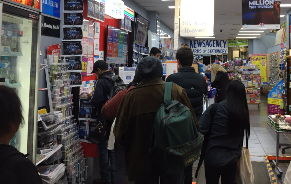 Queues at newsagents are a common sight on the night of a big Powerball jackpot. Source: Tom Flanagan