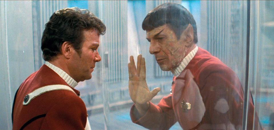 "LOS ANGELES - JUNE 4: William Shatner as Admiral James T. Kirk and Leonard Nimoy as Captain Spock in the movie, ""Star Trek II: The Wrath of Khan."" Release date, June 4, 1982. Image is a screen grab. (Photo by CBS via Getty Images)"
