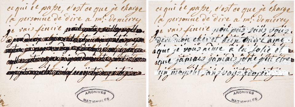 Photo of a redacted passage of the letter of January 4, 1792 (CRC/PA)