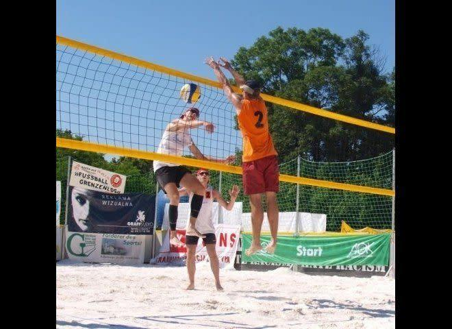 The longest beach volleyball marathon lasted 25 hr 39 min achieved by Mateusz Baca, Sebastian Lüdke, Tomasz Olszak, and Wojciech Kurczyński (all Germans) in Görlitz, Germany, on July 3-4, 2010. The attempt was made at the Rosenhof sports and leisure center by the four members of sports club VfB Görlitz.
