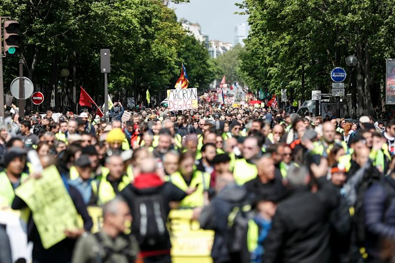Saturday's demonstration in Paris was called by the militant CGT union (AFP Photo/Zakaria ABDELKAFI)