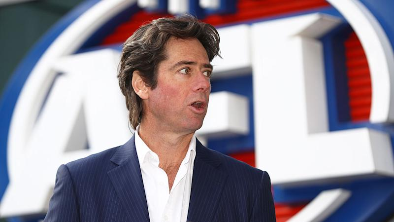 Seen here, AFL CEO Gillon McLachlan addresses media at a press conference.