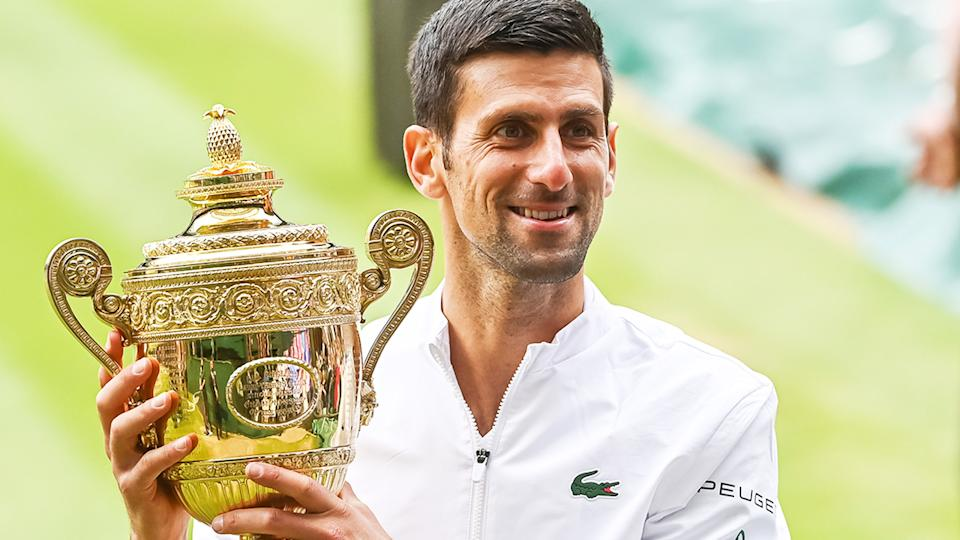 Novak Djokovic, pictured here with the trophy after winning his sixth Wimbledon crown.