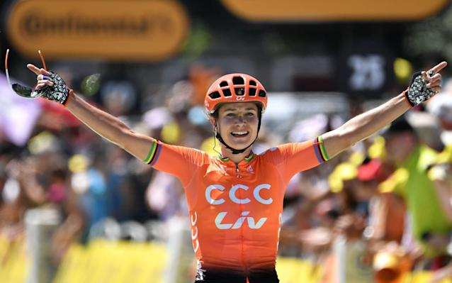 Marianne Vos celebrates victory at the end of a thrilling race - AFP