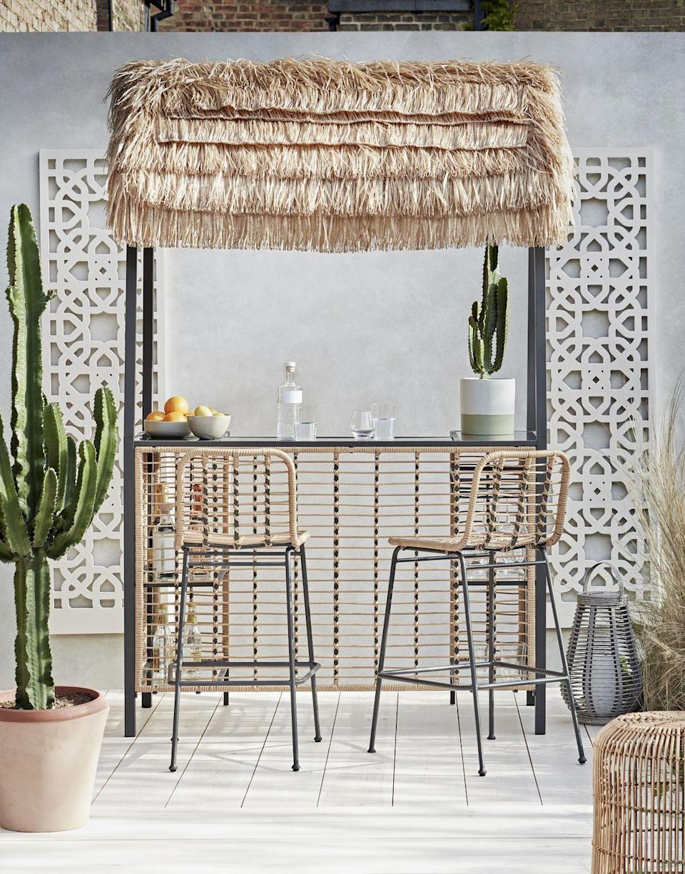 """<p>Drinks, anyone? A seriously smart addition to any outdoor space, <a href=""""https://www.housebeautiful.com/uk/garden/a36185675/habitat-tiki-beach-bar/"""" rel=""""nofollow noopener"""" target=""""_blank"""" data-ylk=""""slk:garden bars"""" class=""""link rapid-noclick-resp"""">garden bars</a> are the ultimate way to turn heads this summer. If you don't have the space for a built-in bar, this pop-up alternative is the way to go. </p><p>Pictured: <a href=""""https://go.redirectingat.com?id=127X1599956&url=https%3A%2F%2Fwww.argos.co.uk%2Fproduct%2F9139941&sref=https%3A%2F%2Fwww.housebeautiful.com%2Fuk%2Fgarden%2Fg36276312%2Finstagrammable-garden%2F"""" rel=""""nofollow noopener"""" target=""""_blank"""" data-ylk=""""slk:Habitat Beach Bar Gazebo, £350 from Argos"""" class=""""link rapid-noclick-resp"""">Habitat Beach Bar Gazebo, £350 from Argos</a></p>"""
