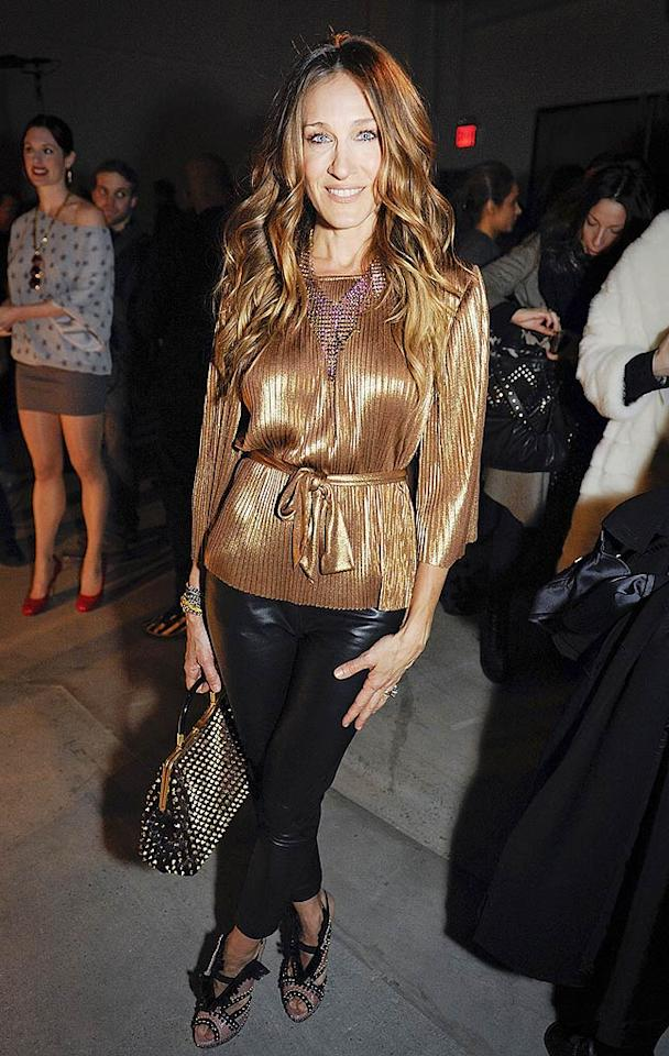 "Golden girl Sarah Jessica Parker was on hand to support designer Marios Schwab as he presented his first collection for Halston. SJP is currently designing a low-cost collection for the Halston Heritage line. Mimi Ritzen Crawford/<a href=""http://www.gettyimages.com/"" target=""new"">GettyImages.com</a> - February 15, 2010"