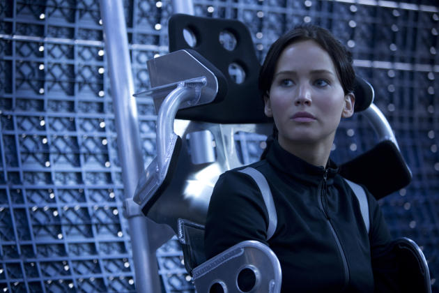 Jennifer Lawrence in Lionsgate's 'The Hunger Games: Catching Fire,' looking like she might be buckling up for a ride.