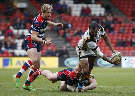 Britian Rugby Union - Bristol Rugby v Wasps - Aviva Premiership - Ashton Gate - 16/4/17 Wasps' Kurtley Beale is tackled by Bristol's Charlie Amesbury   Action Images / Paul Childs Livepic