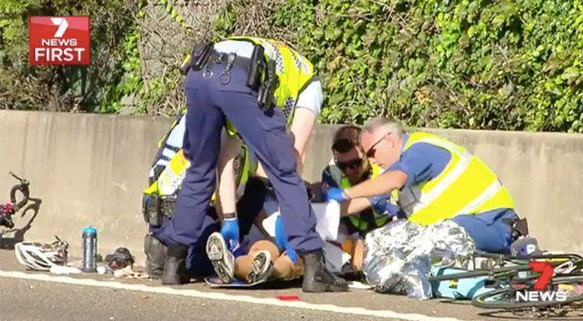 A cyclist injured on Southern Cross Drive. Source: 7News