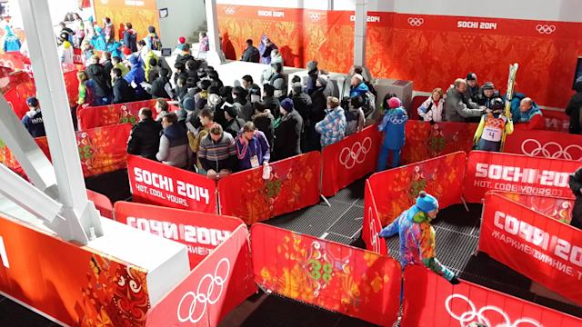 At Sochi, the maze of the mixed zone. (Courtesy Susan Polakoff)