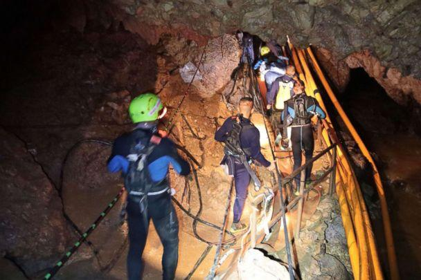 PHOTO: Thai Navy divers in Tham Long cave during rescue operations for the 12 boys and their football team coach trapped in the cave at Khun Nam Nang Non Forest Park in the Mae Sai district of Chiang Rai province. (Royal Thai Navy/Handout/AFP/Getty Images)