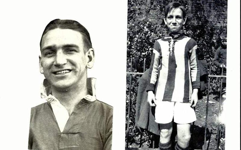 Dementia sufferer Wilfred Thomas (L) played for Brighton, Swansea Town and various representative sides