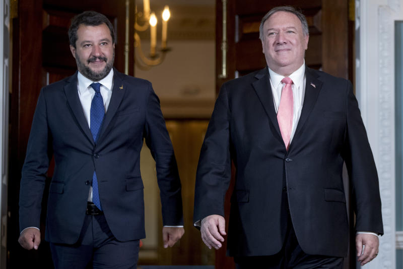Secretary of State Mike Pompeo meets with Italian Deputy Prime Minister Matteo Salvini at the State Department in Washington, Monday, June 17, 2019. (AP Photo/Andrew Harnik)