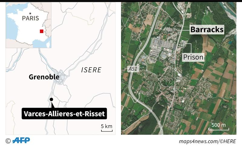Map of the region around Grenoble France locating the Varces barracks where a driver sparked a terror scare