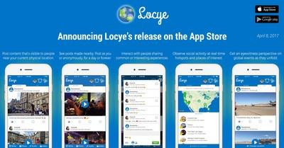 Locye is available for free on Google Play and the App Store. It is compatible with most Android and Apple devices. This illustration shows screenshots of the Locye App running on the iPhone 7.