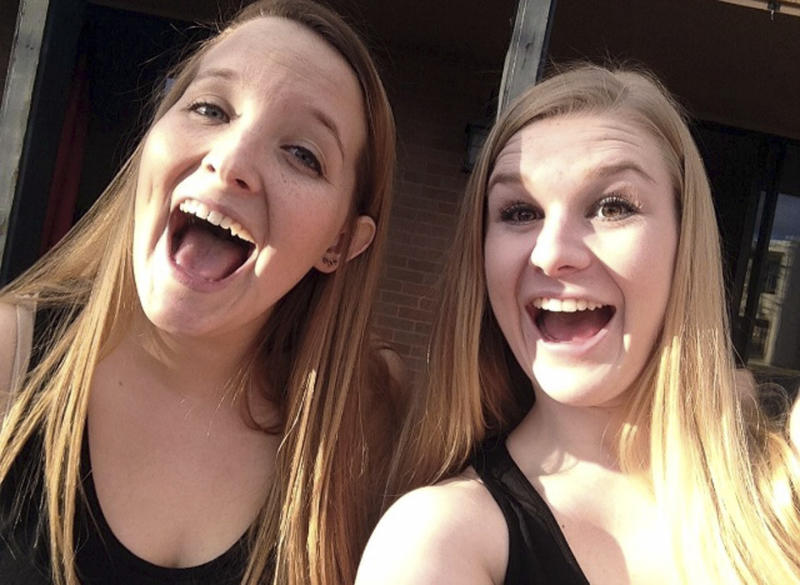 This undated selfie provided by Carly Reilly, left, shows her with Mackenzie Lueck, right. Friends and mourners planned to remember Utah college student Lueck, on Monday night, July 1, 2019, who was missing for nearly two weeks before police arrested a man accused of killing her and burying her charred remains in his backyard. A vigil at the University of Utah will honor Lueck, 23, who has been described as a bubbly, nurturing person who looked after her friends and took care of animals. Lueck disappeared June 17. (Carly Reilly via AP)
