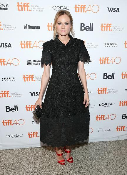 <p>Diane Kruger knows how to dress for film festivals. The actress, who was recently a judge at the Venice Film Festival and wore a series of amazing gowns from impressive designers including Hugo Boss and Oscar de la Renta, impressed yet again in a black Chanel dres for the 'Sky' photo call. From the French fashion house's Fall 2015 couture collection, she paired the black ankle-length dress (which Kendall Jenner actually wore during the runway show) with a pair of red heels for a pop of color.</p>