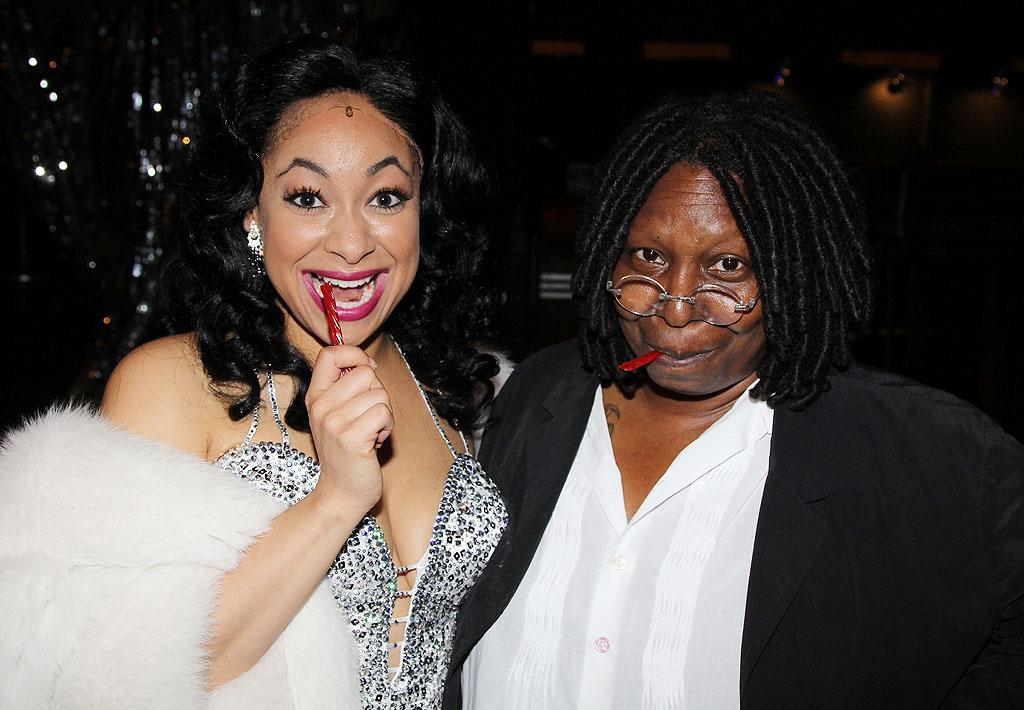 "The new leading lady in the hit musical ""Sister Act,"" Raven Symone, got a backstage visit on Wednesday from the woman who originated her character, Deloris Van Cartier, on the big screen (and who happens to be producing the show), Whoopi Goldberg. Symone recently made headlines after a source told the <em>National Enquirer</em> that she's gay. As of now, she's not commenting either way. <span></span>""I'm living my <br>       <div class=""content"">            <div class=""context""> </div><a href=""https://twitter.com/MissRavenSymone/status/203536093147181058""><span></span><b><span></span></b></a>       <div class=""stream-item-footer"">            <div class=""context""> </div>PERSONAL life the way I'm  happiest. I'm not one, in my 25 year career to disclose who I'm dating.  and I shall not start now,"" she tweeted last month. ""My sexual orientation is mine, and the person I'm datings to know. I'm not one for a public display of my life. However that is my right as a HUMAN BEing whether straight or gay. To tell or not to tell. As long as I'm not harming anyone,"" she continued via two more tweets. <br></div></div>"