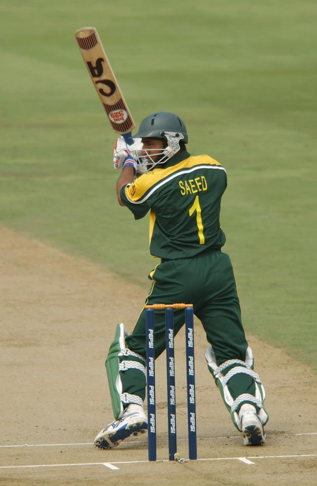 CENTURION - MARCH 1:  Saeed Anwar of Pakistan in action during the ICC Cricket World Cup 2003 Pool A match between India and Pakistan held on March 1, 2003 at the Supersport Stadium, in Centurion, South Africa. India won the match by 6 wickets. (Photo by Nick Laham/Getty Images)