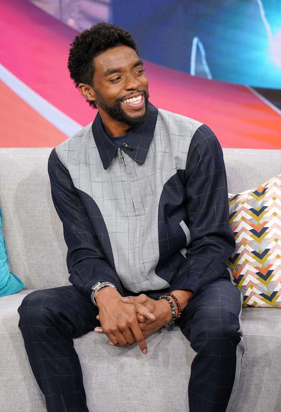 "MIAMI, FL - NOVEMBER 22:  Actor Chadwick Boseman is seen on Despierta America at Univision Studios to promote the film ""21 Bridges"" on November 22, 2019 in Miami, Florida.  (Photo by Alexander Tamargo/Getty Images)"