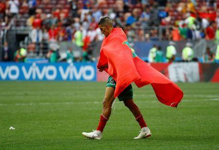 Soccer Football - World Cup - Group B - Portugal vs Morocco - Luzhniki Stadium, Moscow, Russia - June 20, 2018 Morocco's Faycal Fajr looks dejected after the match REUTERS/Kai Pfaffenbach
