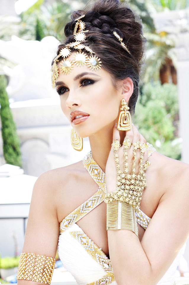 """Miss Mississippi USA 2012, Myverick Rashea Garcia, poses for fashion photographer Fadil Berisha at the """"Gardens of Goddess"""" photo shoot at Caesar's Palace Las Vegas Hotel & Casino pool. Tune in to NBC, June 3 at 9PM EST  for the live telecast of the 2012 Miss USA Competition to see who takes home the Diamond Nexus crown.  HO/Miss Universe Organization L.P., LLLP--RETOUCHED AND ALTERED FOR GLAMOR--"""