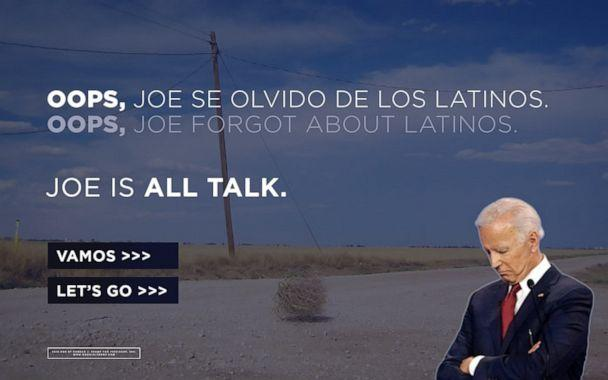PHOTO: The landing page for the Donald J. Trump for President campaign. The Trump campaign said they bought the URL for the Biden campaign's newly announced Latino voter outreach effort 'Todos Con Biden.' (Donald J. Trump for President)