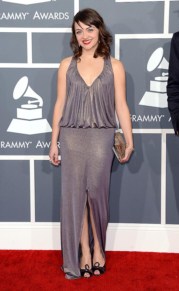 LOS ANGELES, CA - FEBRUARY 10:  Musician Neyla Pekarek of The Lumineers arrives at the 55th Annual GRAMMY Awards at Staples Center on February 10, 2013 in Los Angeles, California.  (Photo by Jason Merritt/Getty Images)
