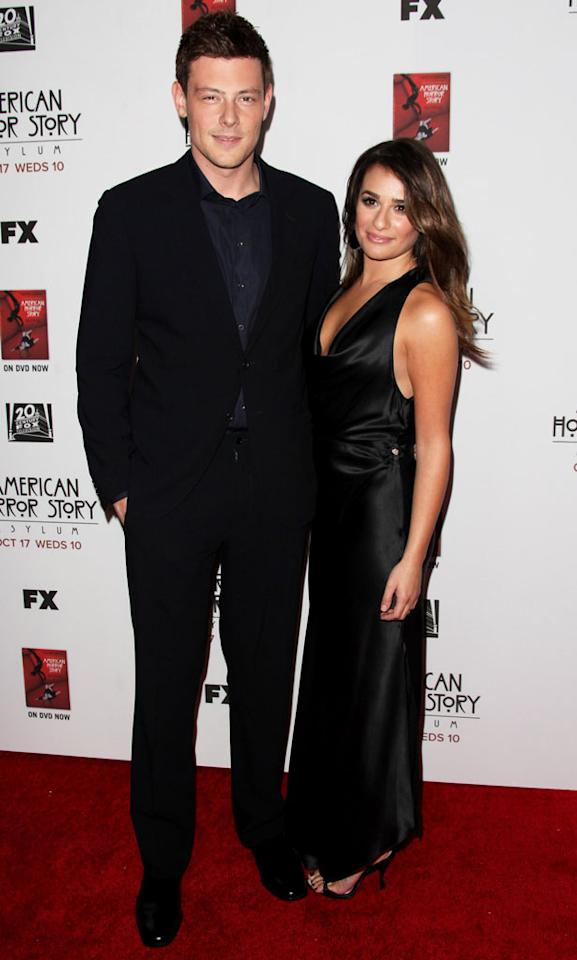"""Cory Monteith and Lea Michele attend the """"American Horror Story: Asylum"""" premiere held at Paramount Studios on October 13, 2012 in Hollywood, California."""