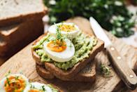 """<p>Any way you scramble it, <a href=""""https://www.prevention.com/food-nutrition/healthy-eating/a20508054/are-eggs-healthy/"""" rel=""""nofollow noopener"""" target=""""_blank"""" data-ylk=""""slk:eggs"""" class=""""link rapid-noclick-resp"""">eggs</a> are a nutritional multitasker. They contain <a href=""""https://www.prevention.com/food-nutrition/a20437976/foods-high-in-vitamin-d/"""" rel=""""nofollow noopener"""" target=""""_blank"""" data-ylk=""""slk:vitamin D"""" class=""""link rapid-noclick-resp"""">vitamin D</a> for bone health, choline for brain function, and protein for preserving muscle. Mirkin suggests scrambling one egg with three egg whites for a slimming and filling breakfast. """"The high fat and protein content (plus lack of carbohydrates and sugars) in eggs makes them an excellent choice for women over 40,"""" says Mirkin. </p><p><strong>Try it:</strong> Need meal prep ideas? Try these delicious <a href=""""https://www.prevention.com/food-nutrition/recipes/g25400067/breakfast-egg-muffins/"""" rel=""""nofollow noopener"""" target=""""_blank"""" data-ylk=""""slk:breakfast egg muffins"""" class=""""link rapid-noclick-resp"""">breakfast egg muffins</a>.</p>"""