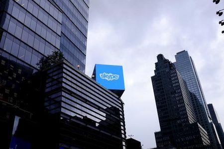 An advertisement for Skype is seen over 42nd Street in Manhattan, New York, July 14, 2015. Picture taken July 14, 2015. REUTERS/Rickey Rogers