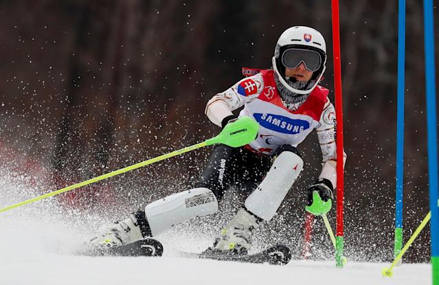 Alpine Skiing - Pyeongchang 2018 Winter Paralympics - Women's Slalom - Visually Impaired - Run 1 - Jeongseon Alpine Centre - Jeongseon, South Korea - March 18, 2018 - Henrieta Farkasova Slovakia competes. REUTERS/Paul Hanna