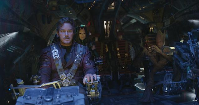 Star-Lord/Peter Quill (Chris Pratt), Mantis (Pom Klementieff), and Groot (voiced by Vin Diesel) in <i>Infinity War</i>. (Photo: Marvel Studios)