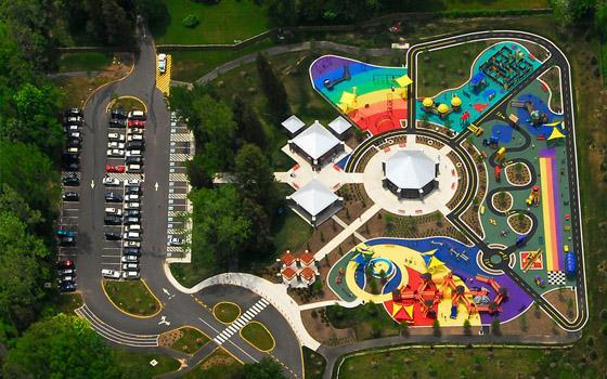 """<div class=""""caption-credit""""> Photo by: Fairfax Gov.</div><div class=""""caption-title"""">Clemyjontri Park, Fairfax County, VA</div>This huge playground was conceived to allow children of all physical abilities play side by side. Its thoughtful design makes it accessible to those in wheelchairs, who use braces, or have developmental disabilies. <br>"""