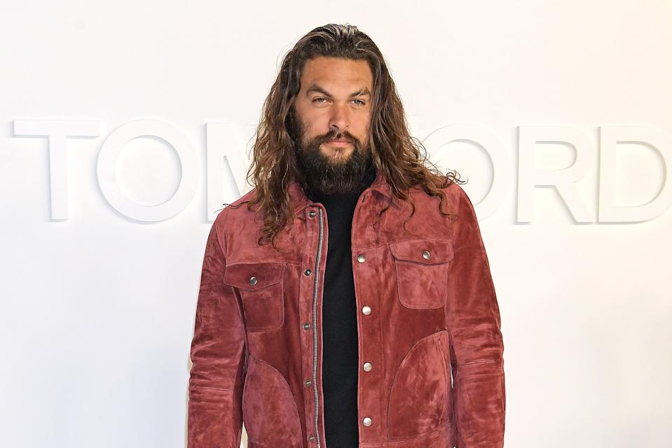 HOLLYWOOD, CALIFORNIA - FEBRUARY 07:  Jason Momoa attends the Tom Ford AW20 show at Milk Studios on February 7, 2020 in Hollywood, California.  (Photo by David M. Benett/Dave Benett/Getty Images)